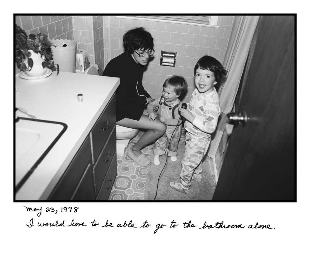 Judy Gelles,  Bathroom , 1977  Silver gelatin print with handwritten notes (original); digital pigment print, 20 x 24 in, edition of 5   Inquire
