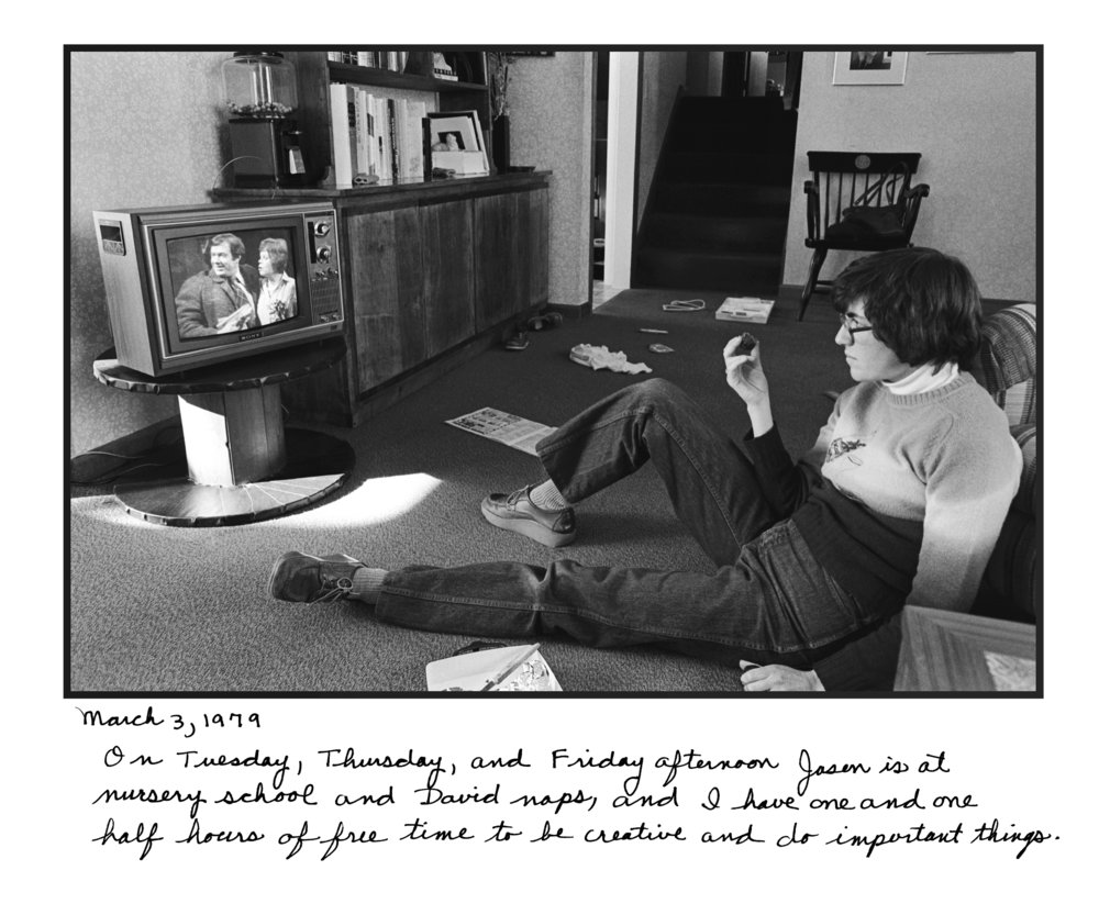 Judy Gelles,  Watching the Soaps , 1977  Silver gelatin print with handwritten notes (original); digital pigment print, 20 x 24 in, edition of 5   Inquire