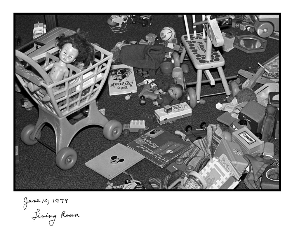 Judy Gelles,  Living Room , 1977  Silver gelatin print with handwritten notes (original); digital pigment print, 20 x 24 in, edition of 5   Inquire