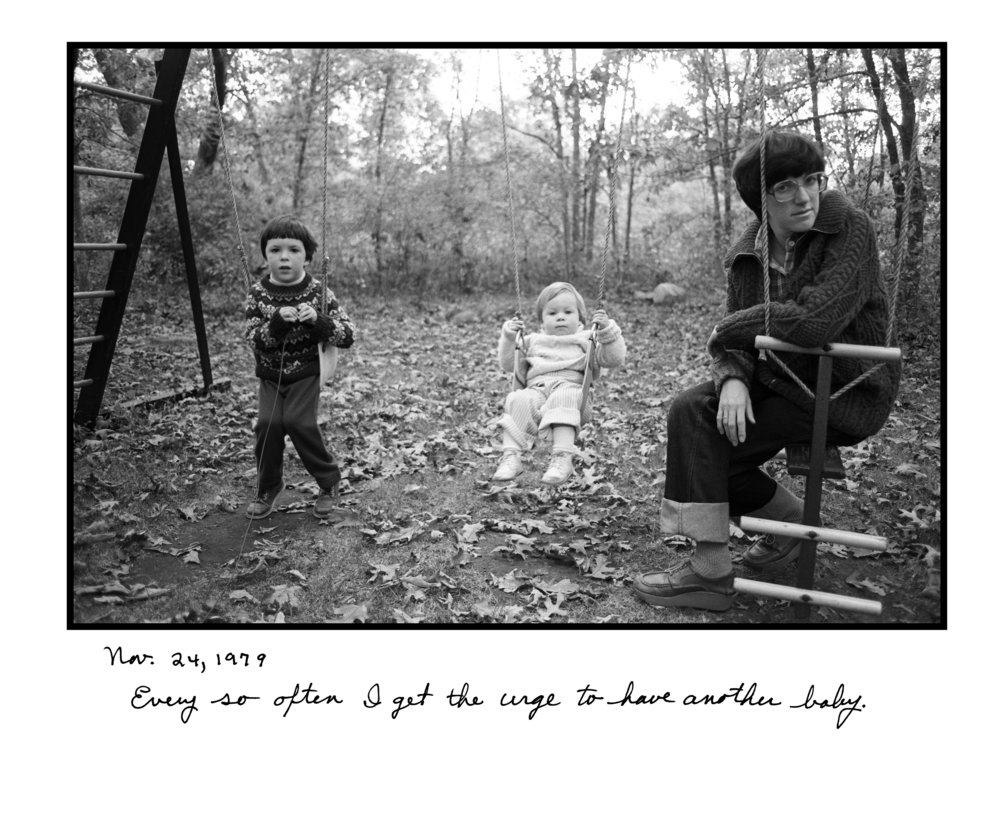 Judy Gelles,  Swing Set , 1979  Silver gelatin print with handwritten notes (original); digital pigment print, 20 x 24 in, edition of 5   Inquire