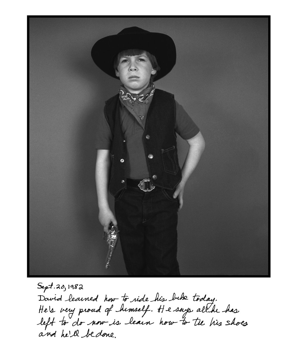 Judy Gelles,  Cowboy , 1982  Silver gelatin print with handwritten notes (original); digital pigment print, 20 x 24 in, edition of 5   Inquire