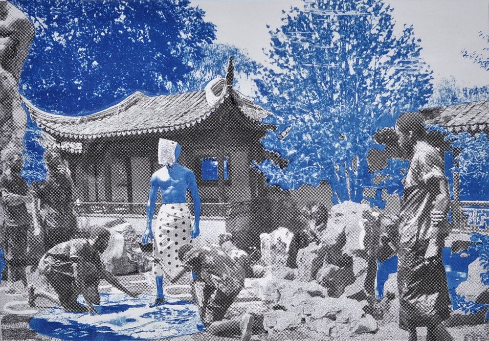 Ivan Forde,  Coming of Enkidu , 2016  Silkscreen and cyanotype on paper, 22 x 30 in, edition of 3   Inquire
