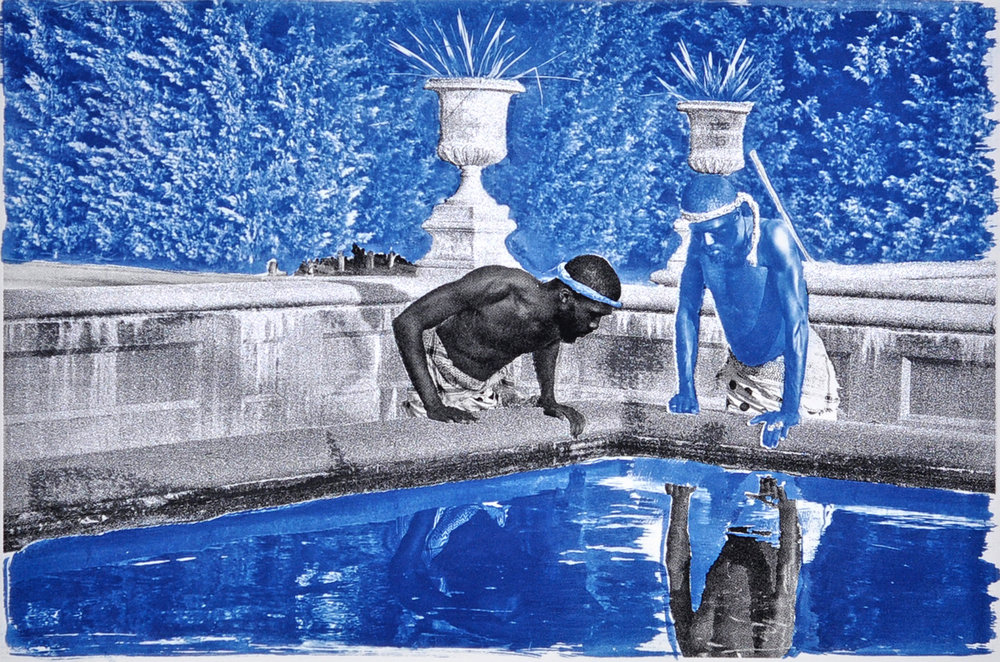 Ivan Forde,  Reflection , 2016  Silkscreen and cyanotype on paper, 22 x 30 in, edition of 3   Inquire