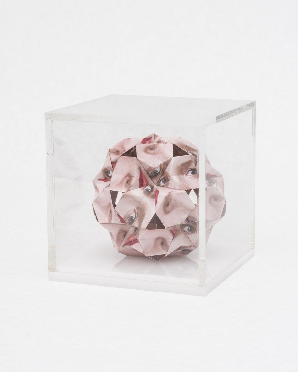 Alma Haser,  Prototype No. 32 (Jessica) , 2016  Digital pigment print with folded digital pigment print sculpture, plexiglass box, 12 x 12 x 12 cm (approx. 5 x 5 x 5 in), edition of 5   Inquire