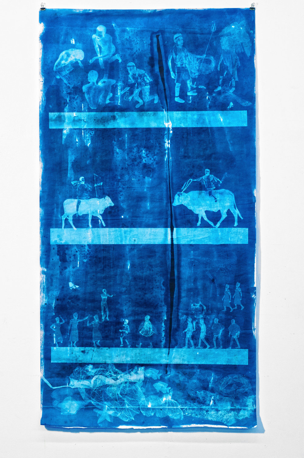 Ivan Forde,  Three Rivers  (from Invocation), 2018  Blueprint on rice paper, 50 x 25 inches (paper size), 60 x 33 x 5 inches (mounted in plexiglass box), unique   Inquire