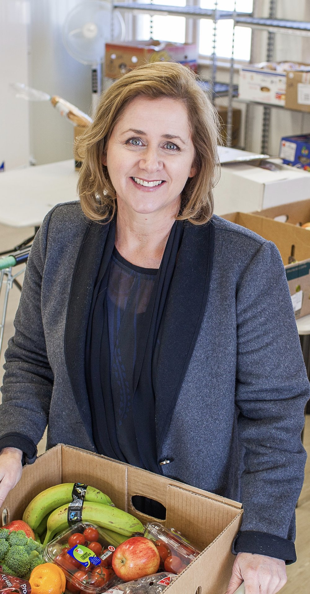 1 June 2016: Foodshare. Deborah Manning CEO of Foodshare in the Dunedin Foodshare base where volunteers sort boxes of food. Photo Sharron Bennett