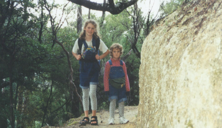 Chloe and Florence Van Dyke hiking the Abel Tasman aged 10 and 5 years old