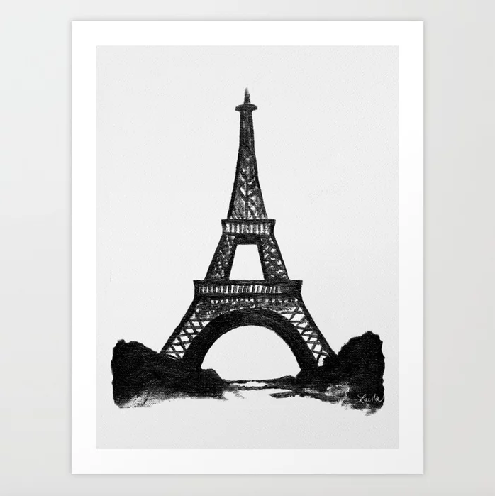 Black Eiffel Tower - Art Print |  $21.99