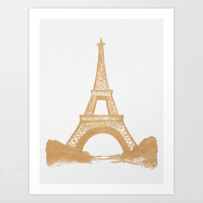 Gold Eiffel Tower - Art Print |    $21.99