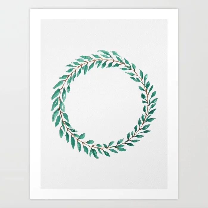 Green Wreath - Art Print |  $21.99