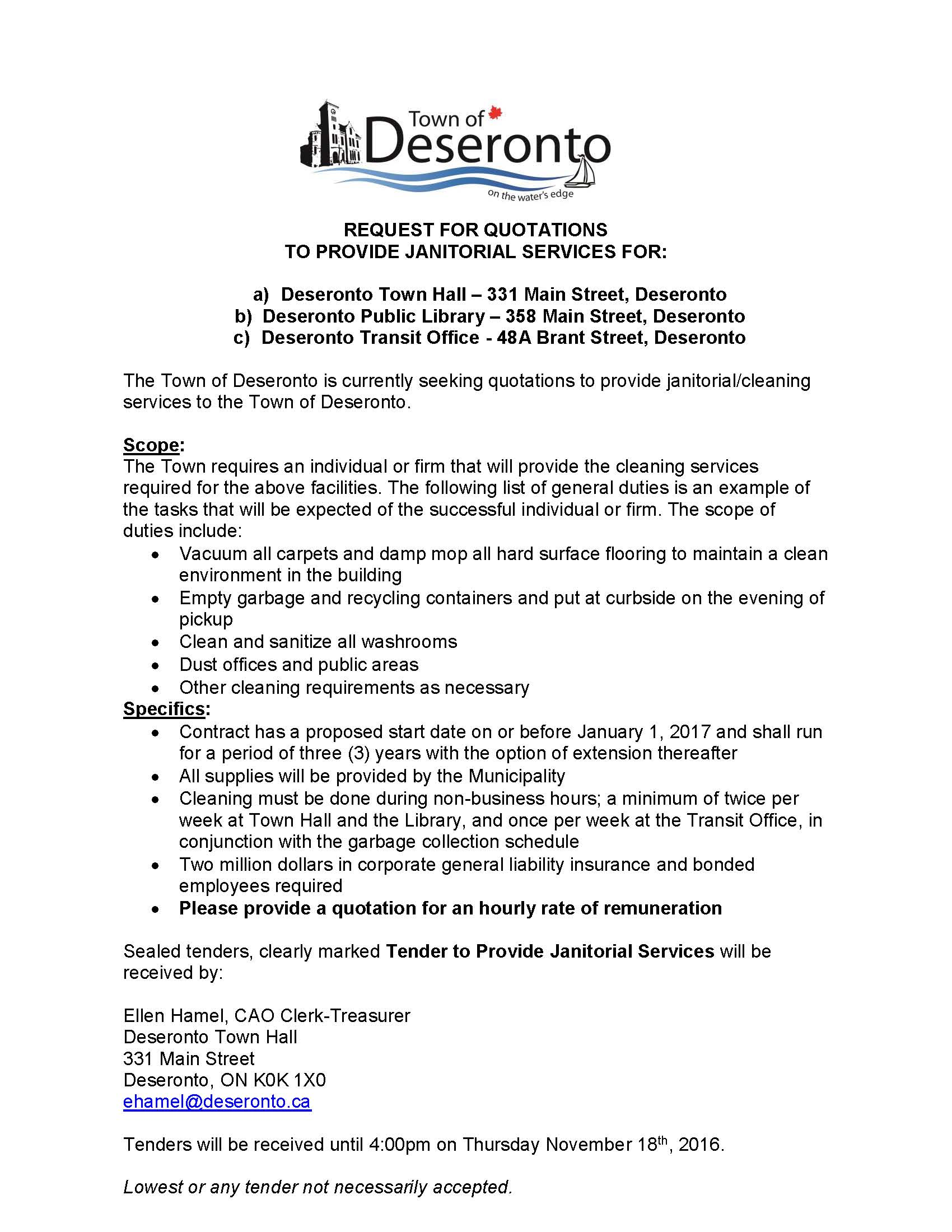 seeking proposals for janitorial services town of deseronto