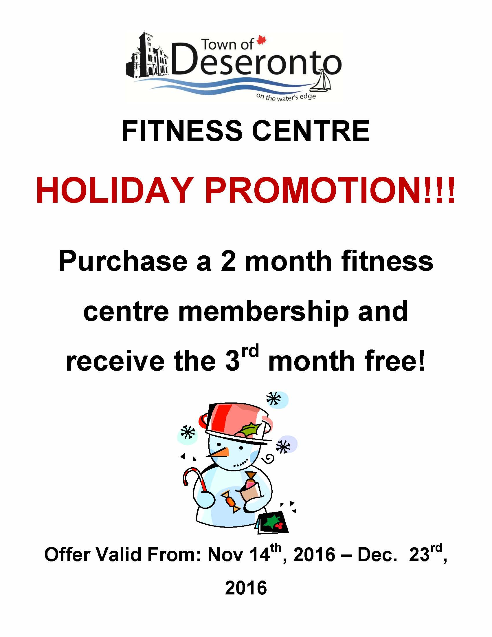 Fitness Centre Holiday Promo 2016