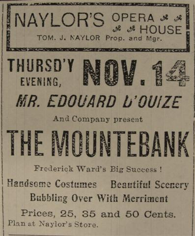 Advertisement for 'The Mountebank' at Naylor's Theatre, published in  The Tribune , November 7, 1901