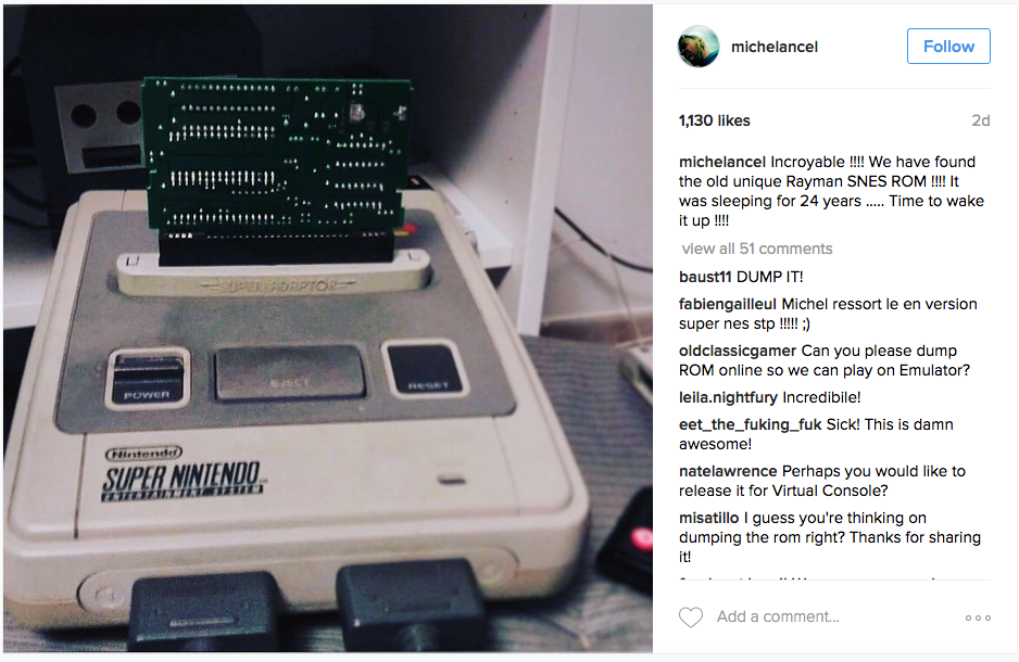 """michelancel: Incroyable !!!! We have found the old unique Rayman SNES ROM !!!! It was sleeping for 24 years ..... Time to wake it up !!!!"""