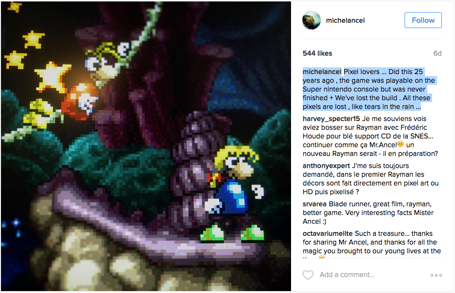 """michelancel: Pixel lovers ... Did this 25 years ago , the game was playable on the Super nintendo console but was never finished + We've lost the build . All these pixels are lost , like tears in the rain …"""