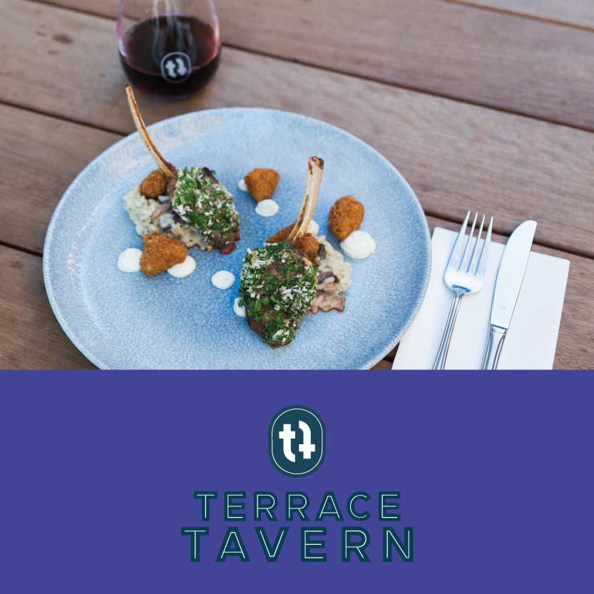 Terrace Tavern   (130 Oxford Terrace, Christchurch Central)   Lunch Dish: Ocean sea scallops, butter roasted cauliflower, cauliflower puree, pork crumble, za-taar spice / Dinner Dish: Canterbury herb crusted lamb, crispy panko sweetbreads, mushroom risotto, goats cheese mousse, dukkah spice