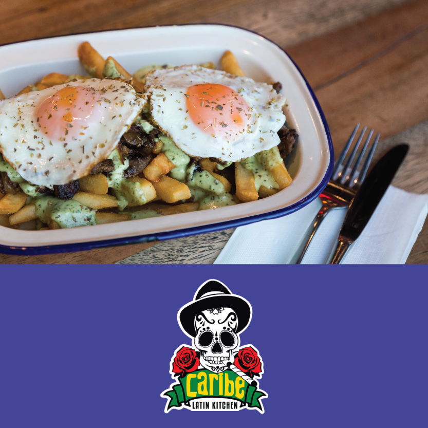 Caribe Latin Kitchen   (Little High, 255 St Asaph St, Christchurch Central)   Chorrillanas: Traditional Chilean dish of sliced beef, caramelized onion, french fries, two eggs and avocado sauce / Beverage pair: tap craft beer or house wine