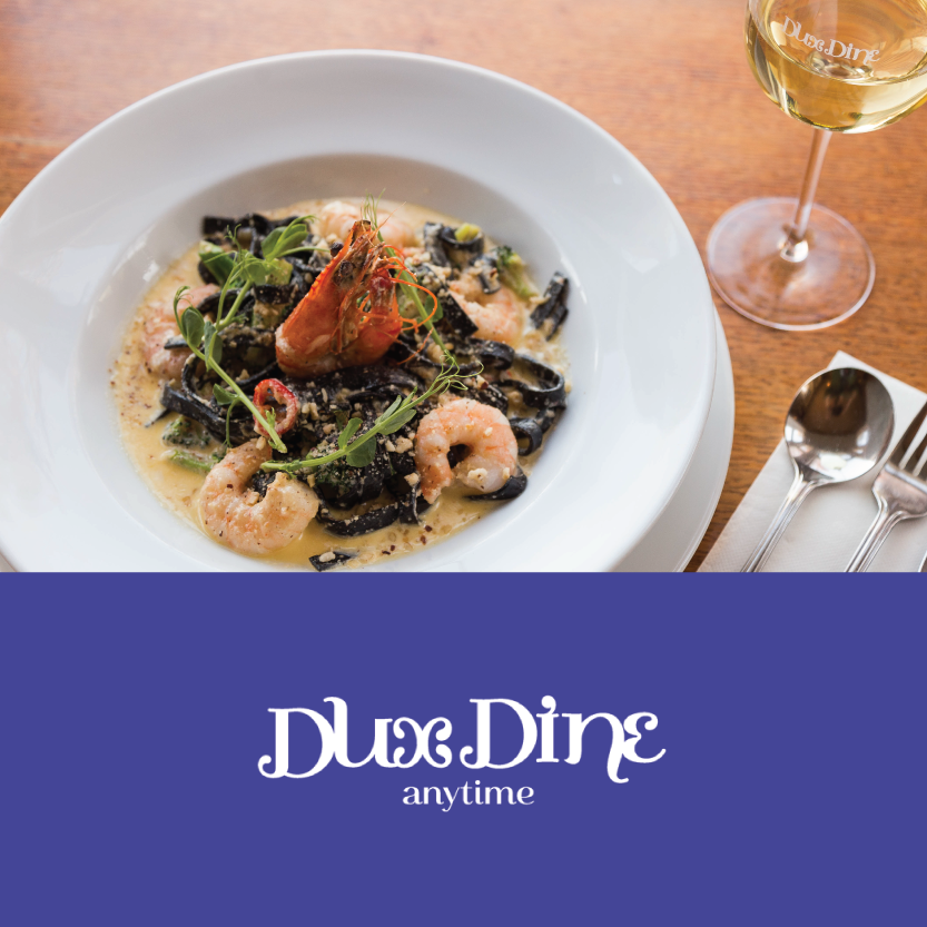 Dux Dine   (28 Riccarton Rd, Riccarton)   Squid Ink Prawn Pasta: in a creamy hazelnut sauce, served with broccoli and crushed chilli