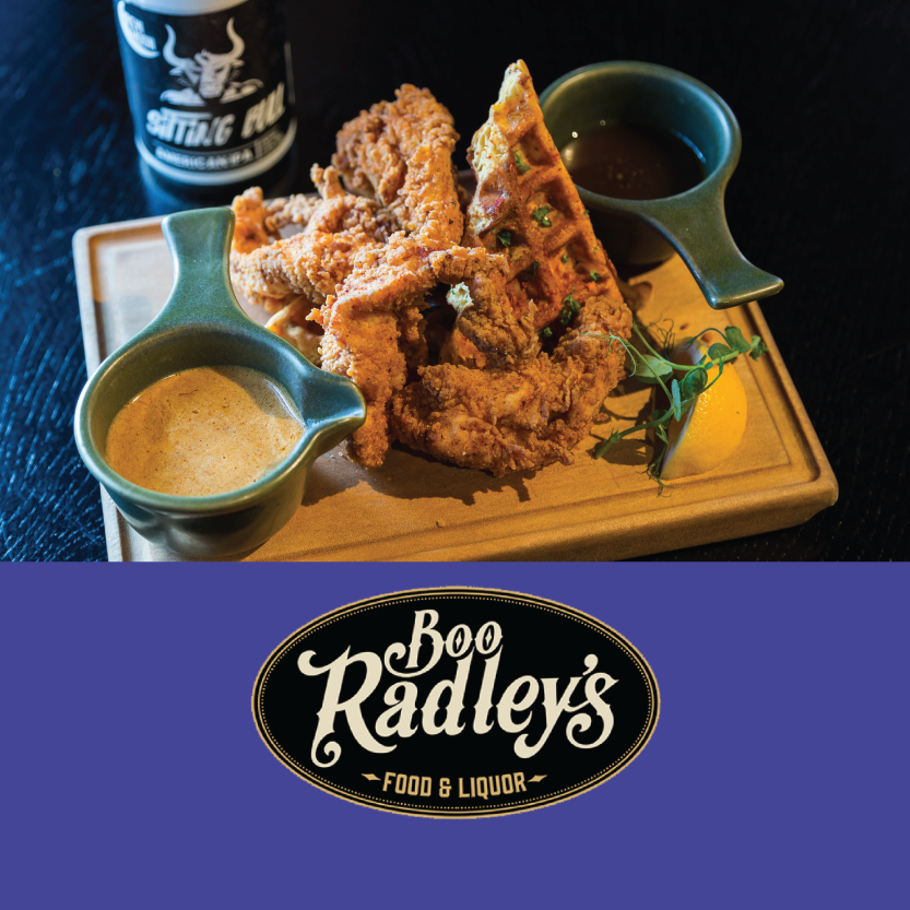 Boo Radleys   ( level 1/98 Victoria St, Christchurch Central)   Southern Fried Chicken Tenders: with maple black pepper caramel, molasses chili butter, and buttermilk chive waffle / Brew Moon's The Sitting Bull American IPA