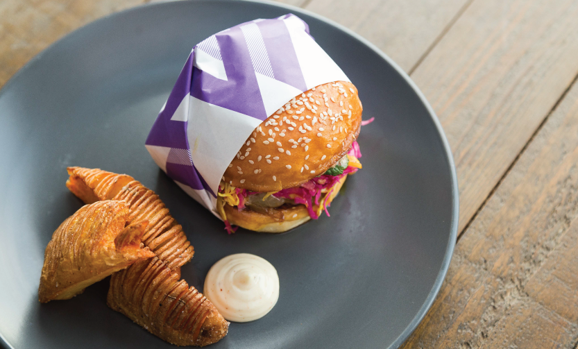 Favourite Christchurch Food Chase Dish - Welles Street - The Hellenic Burger: NZ lamb, ras onions, provolone cheese, pickled cabbage & special 44 sauce side / Optional side: Hasselback potatoes with citrus salts / Beverage pair: Mythos Greek Beer