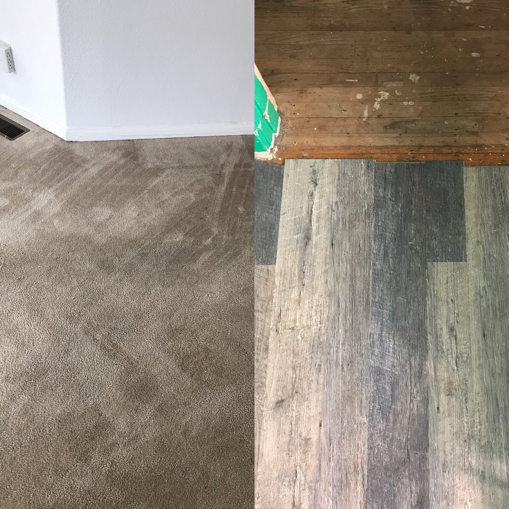 - Image one:On the left, carpeted floor recently steam cleaned. On the right, carpet has been removed, original hardwood flooring underneath. Vinyl plank (lock-in style) flooring being laid over.