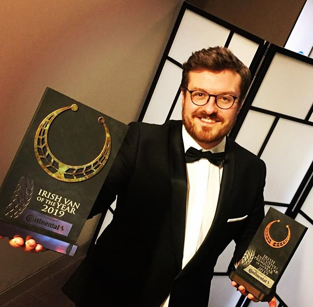 Hall PR's Maximilien McKenna pictured with two coveted awards presented to Mercedes-Benz at last evening's 2019 Irish Car and Van of the Year Awards ceremony held in Dublin's Gibson Hotel.  Left is the overall Van of the Year award won by the new Mercedes-Benz Sprinter and (right) the Car of the Year Premium Executive category award won by the Mercedes-Benz CLS.  Praise to Continental Tyres, the Irish Motoring Writers' Association and the Association of Professional Motoring Press for their hosting of this important annual event. #mercedesbenz #irishcaroftheyear #gibsonhotel #mercedesbenz