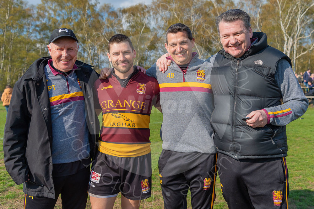 James Pritchard  with the Coaching Team at his last home match prior to retirement (Photo: Iain Frankish, Actuance Photography)