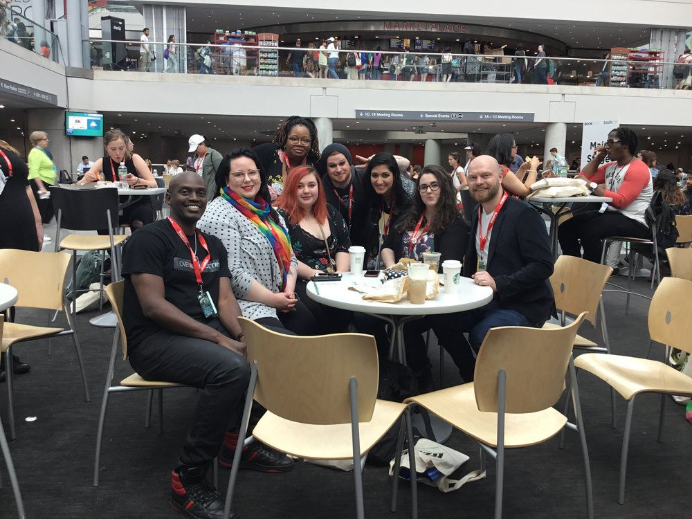 from left to right Charles Stokes, Amanda Lovelace, Caitlyn Seihl, K.Y. Robinson, Cyrus Parker, Nikita Gill, Trista Mateer, Iain S. Thomas