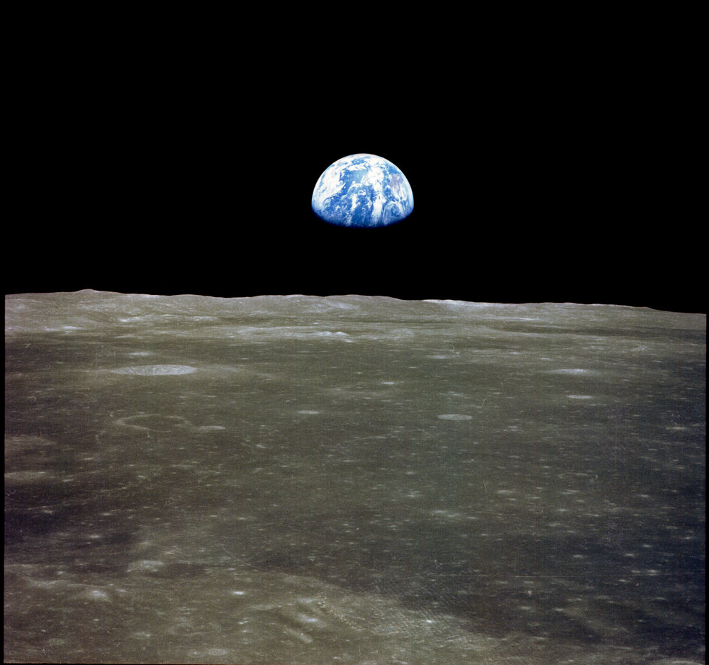 Earth rise as seen from Apollo 11. Photo  credit .