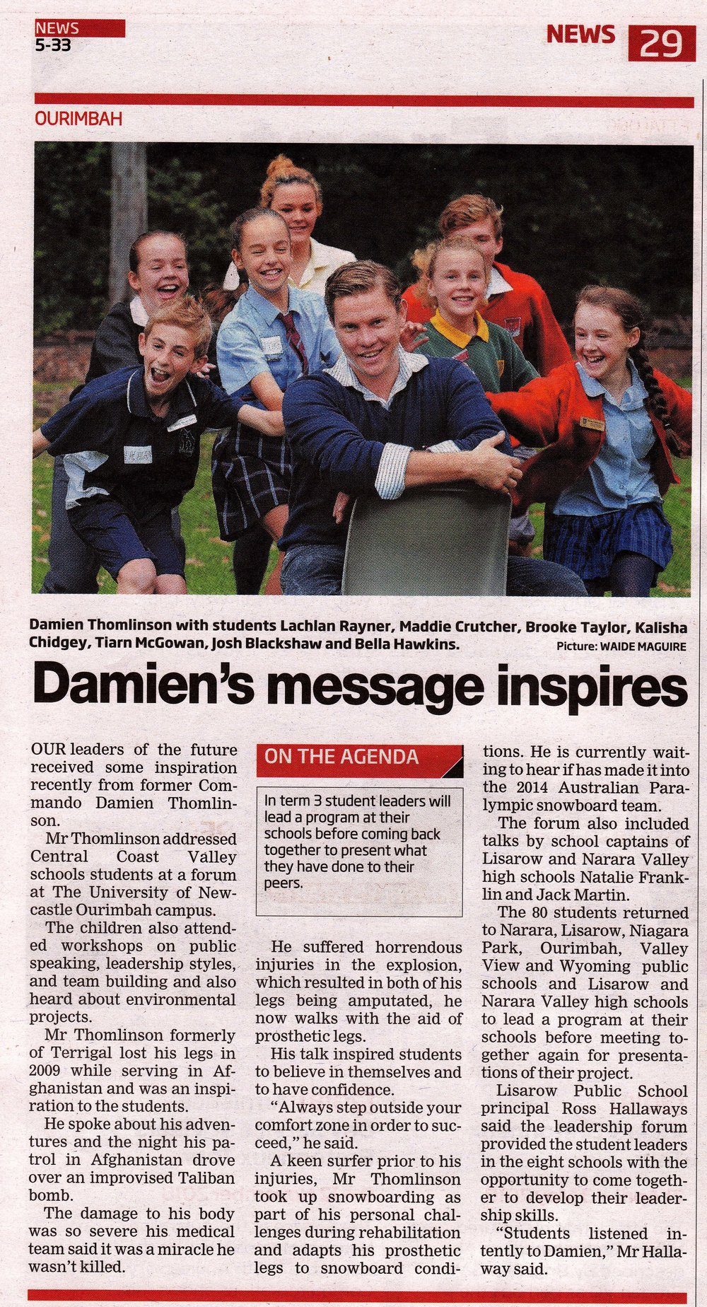 Damien is regularly profiled by local media as part of his travels around Australia, where he always tries to find time to meet with kids