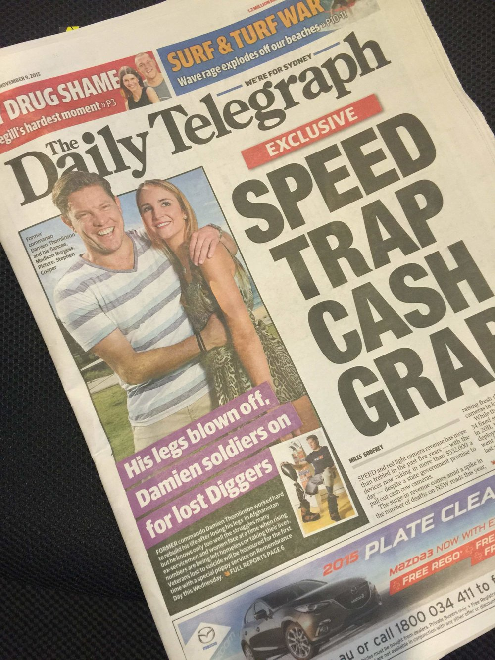 Daily Tele Damien front page.JPG