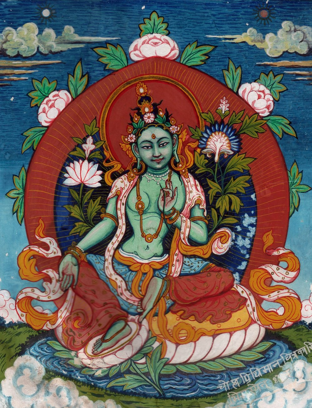 Green Tara from the Tibetan Mythology