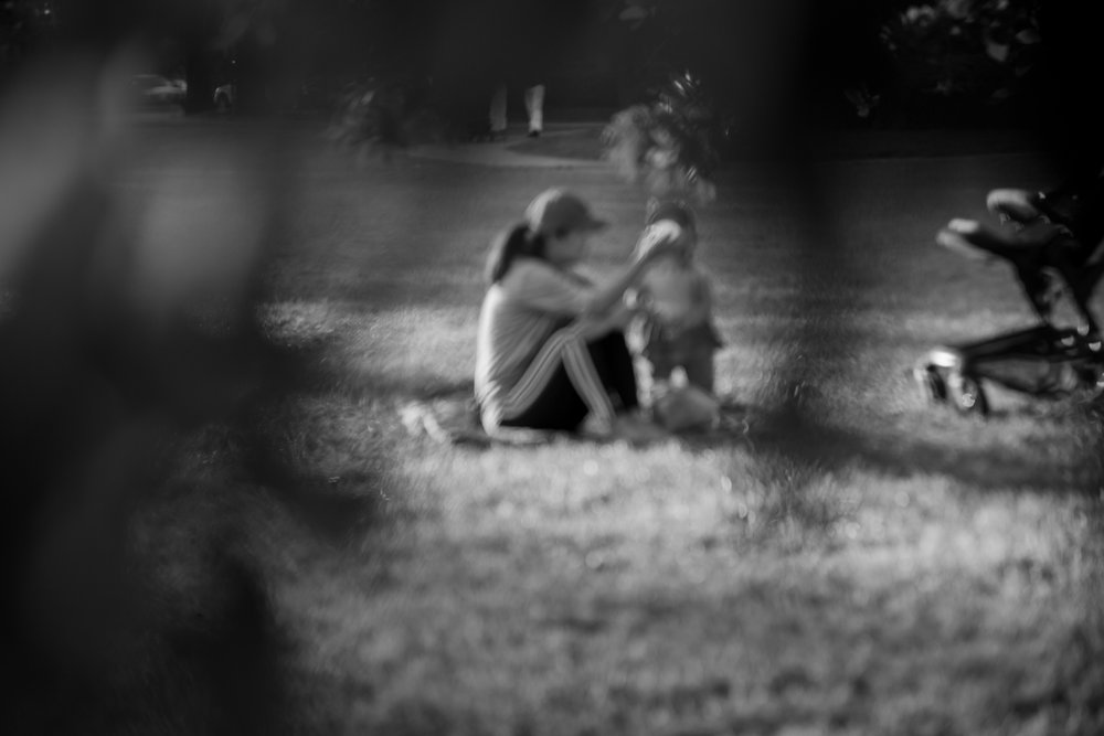 a moment i captured through the trees of a mother and daughter.