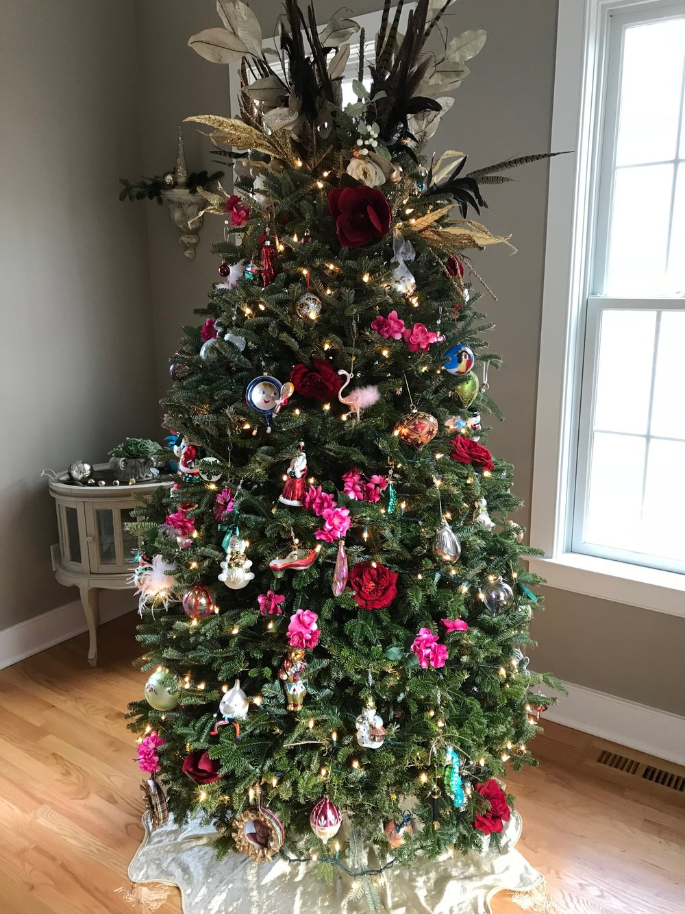 Behind the Studs podcast - episode 23 - home decor Christmas - beautiful tree with feathers (3).JPG