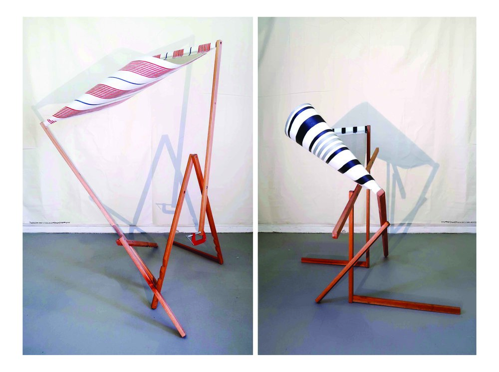 TWO DECKCHAIRS  (installation view)  oil on linen, saligna, metal clamp  approx. 165 x 150 x 120cm each  2017