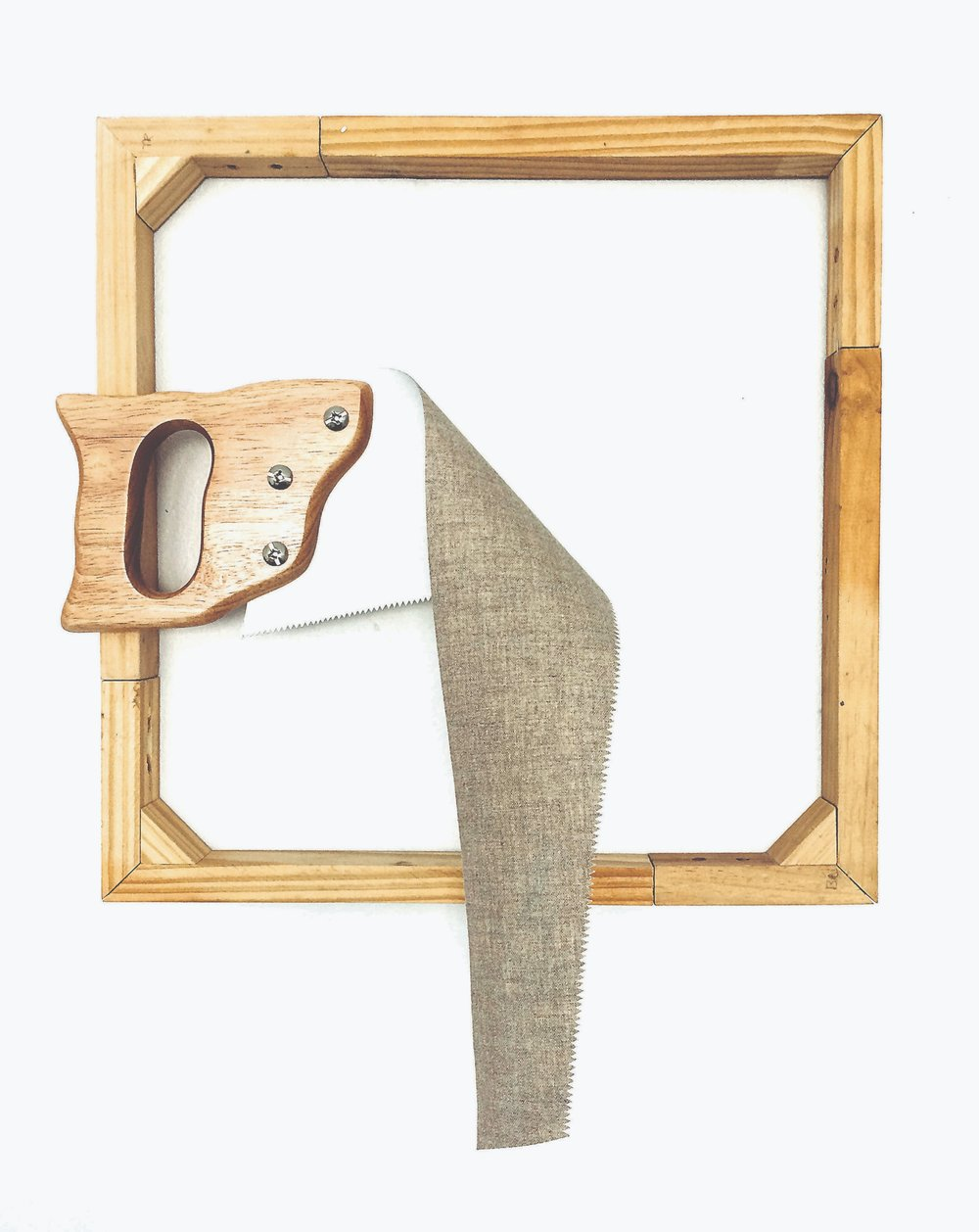 UNTITLED   linen, saligna, pine and metal screws  30 x 45cm  2017