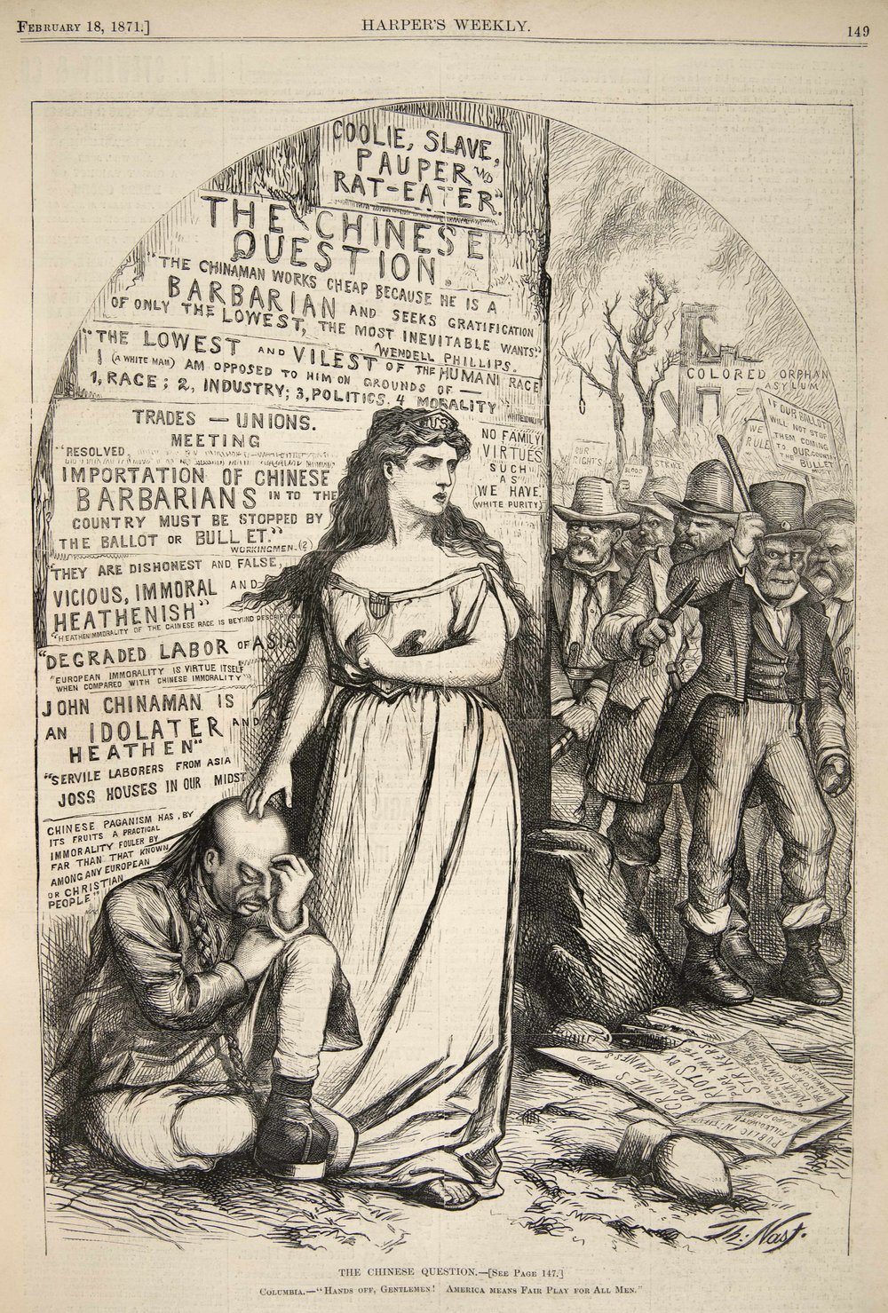 """The Chinese Question,"" Thomas Nast, Harper's Weekly, February 18, 1871. Source: UDel/Walfred"
