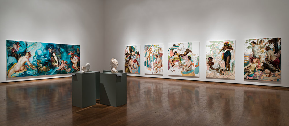 Installation view, Between tongue and teeth at the Everson Museum of Art, @ Angela Fraleigh, All Rights Reserved