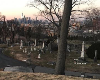 Green-Wood Cemetery in Brooklyn holds Eric's favourite view of Manhattan.