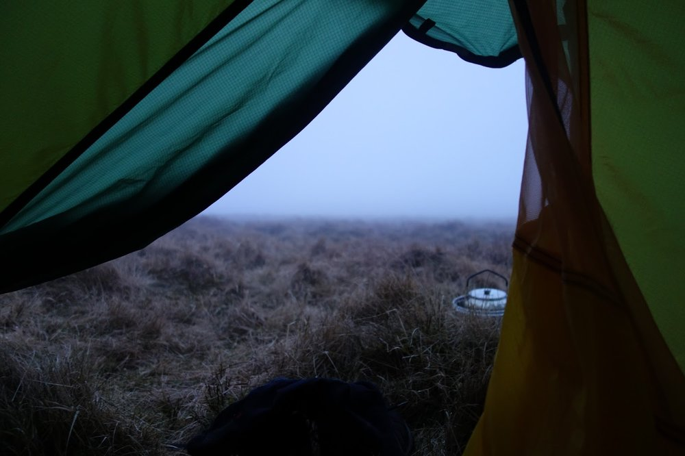 View from tent in hill fog in Snowdonia