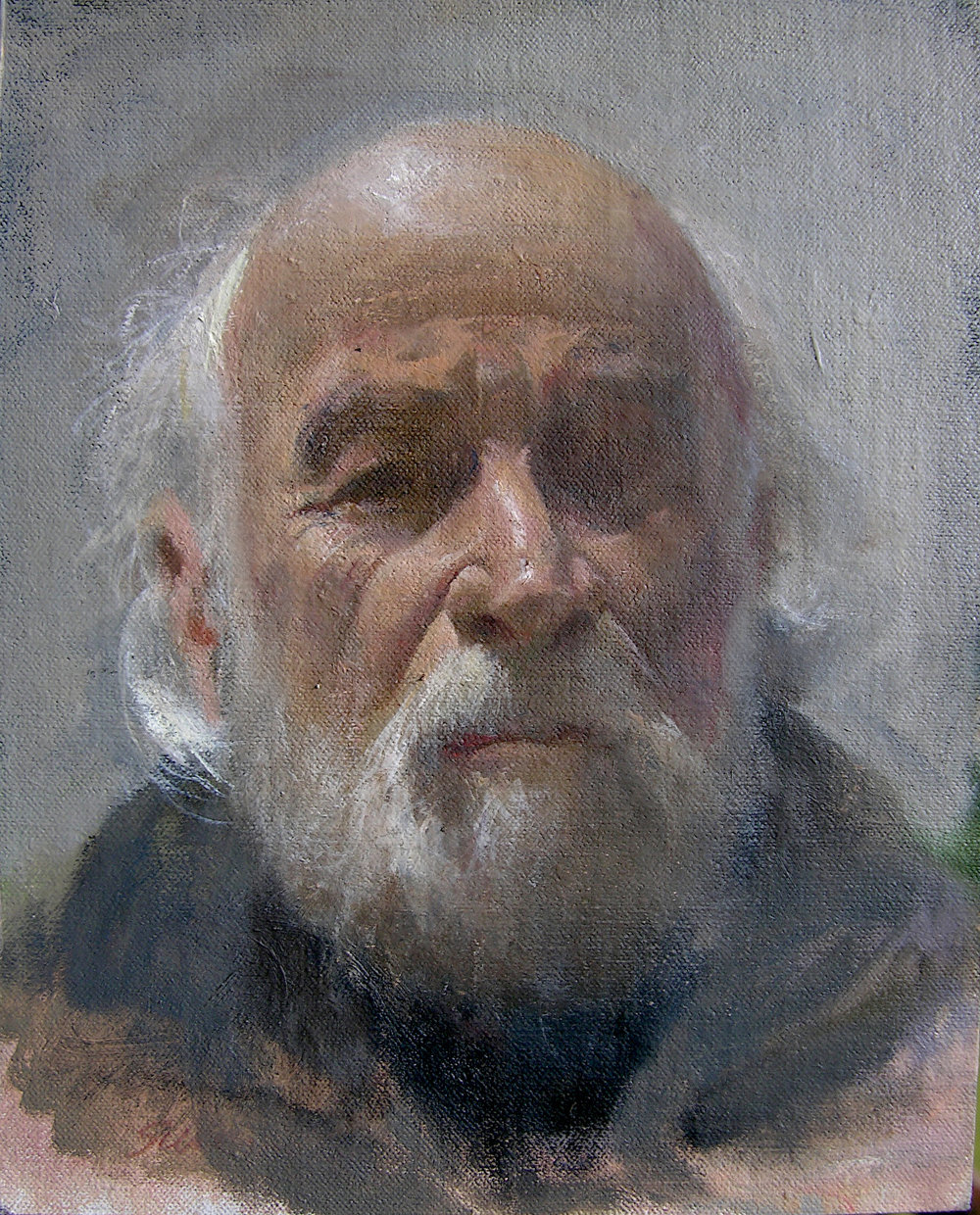 Study for a self portrait, 2018, oil :linen on wood, 12x10in.
