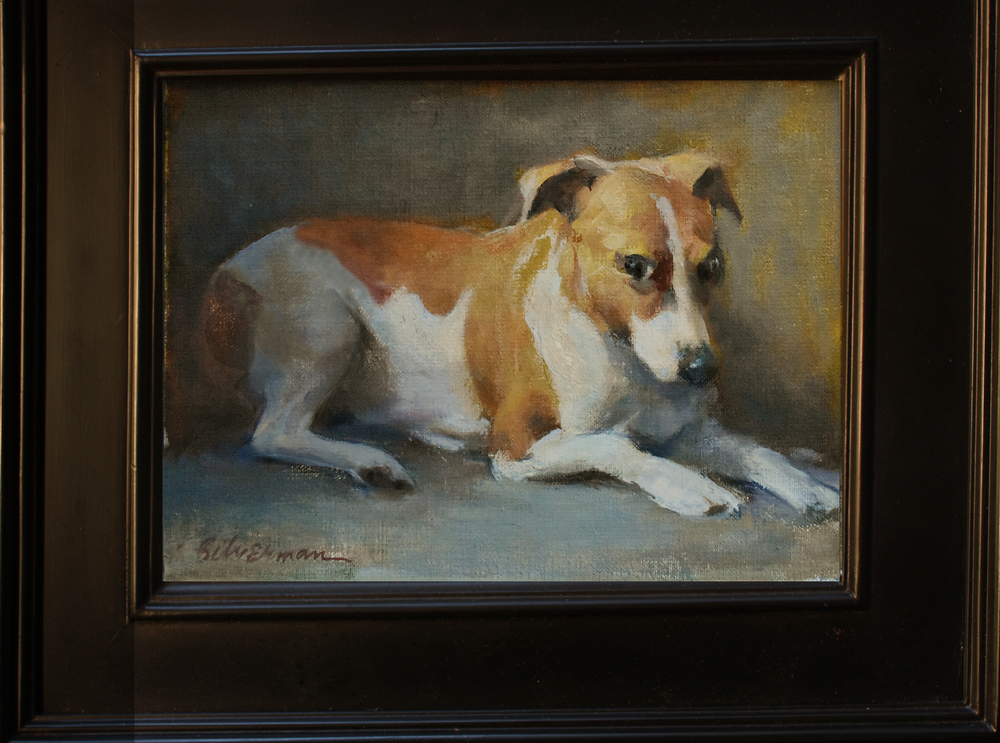 Mary's Dog, oil framed, 12x14 in  ……………………………………….$4000