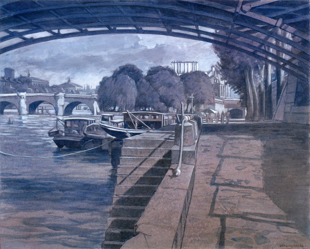 Under Le Pont Des Arts Grisaille