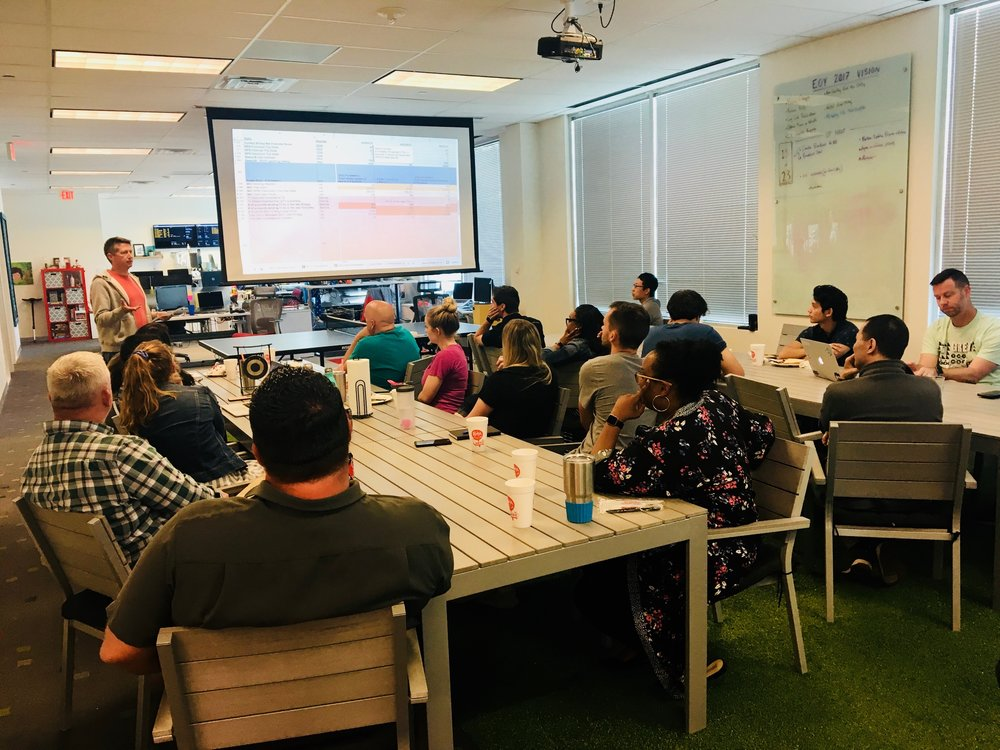 Call-Em-All's weekly huddle where they share their company financials with everyone. Each team member has a line item.