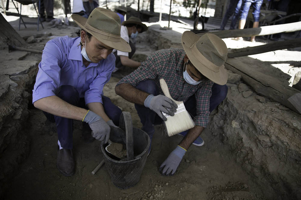 Students sift through the foundation underpinnings of the damaged mosque searching for artifacts and found the remains of an earlier seventeenth-century building, which is rare in Kabul.