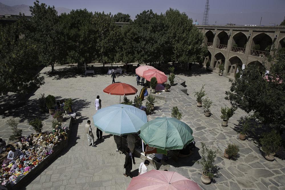 A caravanserai complex was added to Bagh-e Babur in 2004-2005.