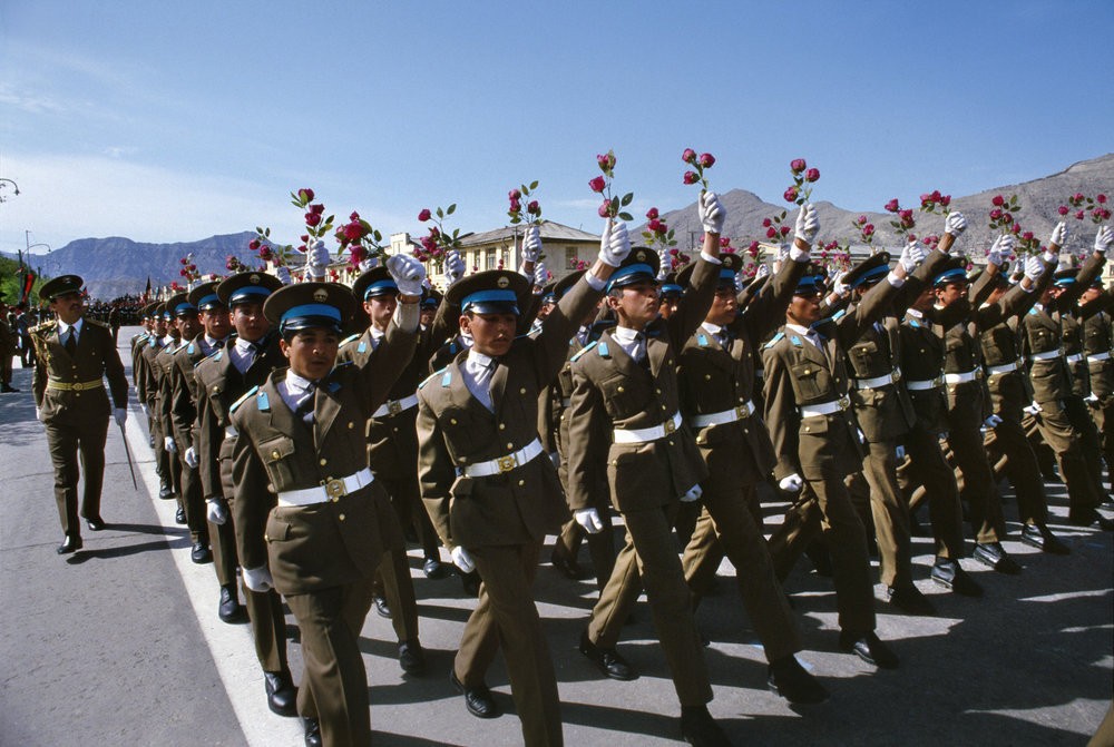 April 1989: Military academy cadets march in Kabul to celebrate the Saur Revolution, the Afghan Communist Party's seizure of power 11 years earlier.