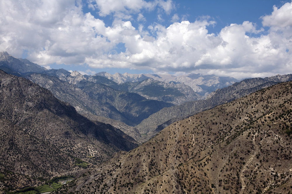 September 2009: A valley in the Hindu Kush mountains in Kunar province, viewed from a U.S. Army helicopter.