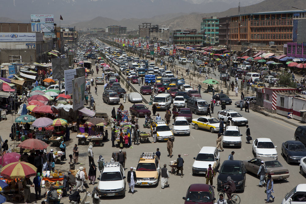 May 2013: Car and truck traffic back up near the Pul-e-Sokhta bridge in western Kabul.