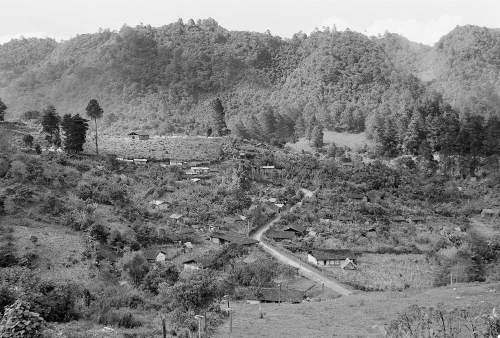 A dirt road winds through the highland areas of San Juan Cotzal, Guatemala, January 20, 1982. The Ixil Maya town was in turmoil after 300 leftist guerrillas from the Guerrilla Army of the Poor, EGP, attacked the Guatemalan army base camp leaving 37 government soldiers dead.